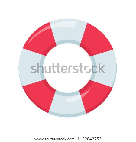 cd0f70345673 Lifeguard device elemnt for emergency situation. Inflatable ring float  isolated on white background. Water hoop sink preserver tube. - Vector