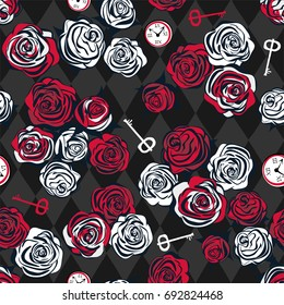 Red and white roses, key and clock on chess background. Seamless pattern. Alice in Wonderland background, wallpaper. Vector illustration