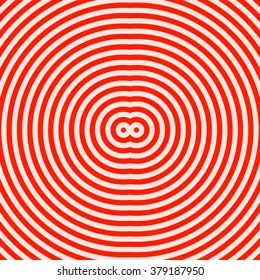 Red white round abstract vortex background. Hypnotic spiral wallpaper. Vector illustration