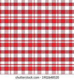 Red and white Scottish Woven Tartan Plaid Seamless Pattern
