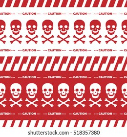 Red and white seamless borders. Caution tape seamless with skulls vector