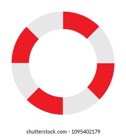 A red and white silhouette of a flotation ring