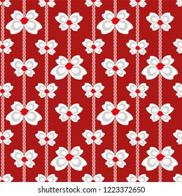 Red white and silver vector seamless vertical linear Christmas bows and ribbons on subtly textured red background. Great for giftwrap, scrapbooking, quilting and commercial projects
