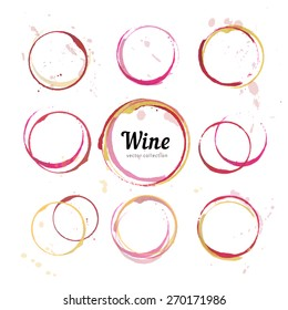 Red and white stains for wine card, stamp,  logo, list, menu. Vector set of isolated wine stain circles. Wine stain logo design. Wine bottom glass ring stains for logo design. Watercolor glass marks.