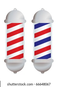 red and white stripe barbers pole with silver elements