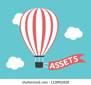 Red and white striped hot air balloon with assets text on flag in turquoise blue sky. Money, wealth, investment and savings concept. Flat design. Vector illustration, no transparency, no gradients