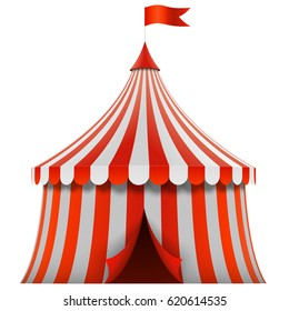 Red and white stripes circus tent isolated on white background. Vector illustration.
