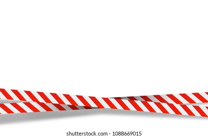 Red and white stripes set. Warning tapes. Danger signs. Caution ,Barricade tape, Do not cross, police, scene barrier tape. Vector flat style cartoon illustration isolated on background