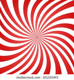 Red white summer spiral ray pattern background - vector version