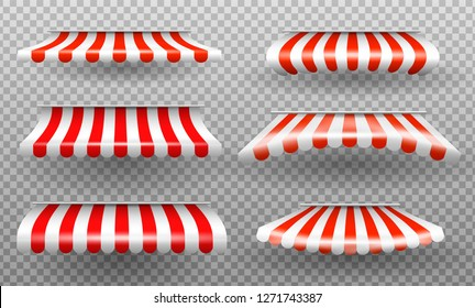 Red and white sunshade. Outdoor awnings for cafe and shop window isolated vector set. Sunshade for market or store. Vector illustration set.