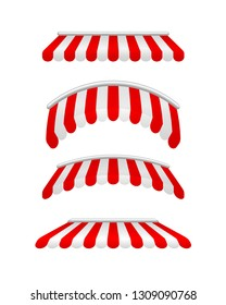 Red and white sunshade. Outdoor awnings for cafe and shop window isolated. Tent sunshade for market. Vector illustration