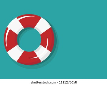 red and white swimming rubber ring on blue  background. Floating lifebuoy, toy for beach or ship. Inflatable circle, buoy in pool. Summer sea vacation poster or card.