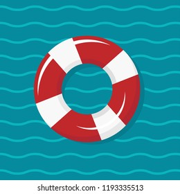 red and white swimming rubber ring on blue wavy background. Floating lifebuoy, toy for beach or ship. Inflatable circle, buoy in pool. Summer sea vacation poster or card.