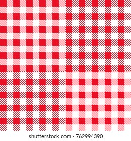 Red and white tablecloth pattern. Vector illustration. Seamless checkered pattern.