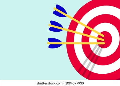 Red white target with arrows in the bullseye with shadows on it. Goal achieving symbol icon sign vector banner illustration isolated on light blue background flat style design
