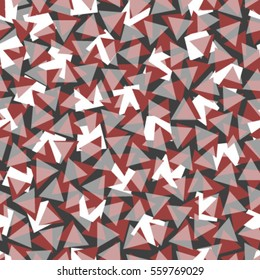 red white triangles on grey seamless pattern