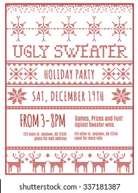 Red and White Ugly Holiday Sweater Party invitation template