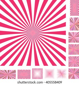 Red and white vector ray burst design background set. Different color, gradient, screen, paper size versions.