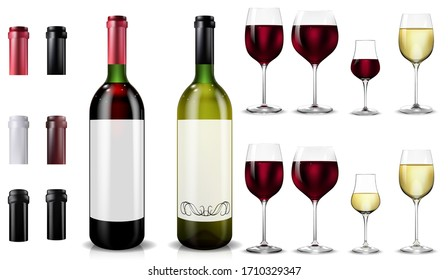 Red and white wine bottles and glasses. Realistic mockup