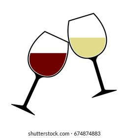 Red and White Wine Glasses Clink Vector Isolated, Cheers
