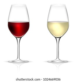 Red and white wine glasses isolated on white background - vector illustration