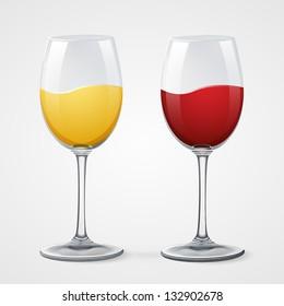 red and white wine glasses on gray eps10 illustration