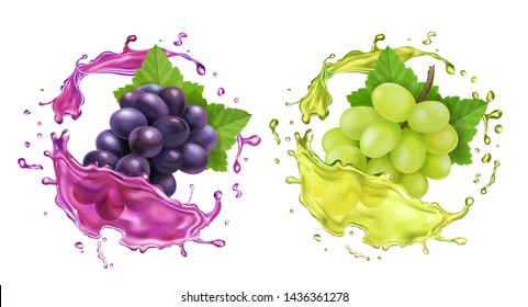 Red and white wine grapes and juice splash. Re.alistic vector icon set