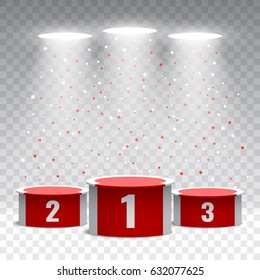 Red and white winners podium with confetti on transparent background. Stage for awards ceremony. Pedestal. Spotlight. Vector illustration.
