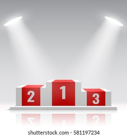 Red and white winners podium. Stage for awards ceremony. Pedestal. Spotlight. Vector illustration.
