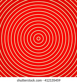 Red white yellowish round abstract vortex background. Hypnotic spiral wallpaper. Vector illustration