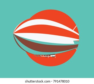 Red and white zeppelin vector icon. Flat colors aircraft illustration.
