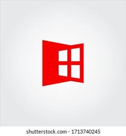 red window logo design template