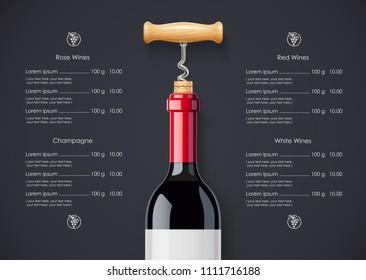 Red Wine bottle, cork and corkscrew concept design for wines list in dark background. Drink menu. Bottled alcohol beverage. EPS10 vector illustration.