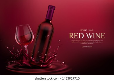 Red wine bottle and glass mockup. Closed blank flask and wineglass mock up with alcohol vine drink on burgundy liquid splashes and droplets ad promo banner background. Realistic 3d vector illustration