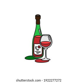 Red wine bottle and glass outline icon on white background. Colored cartoon sketch graphic design. Doodle style. Hand drawn image. Party drinks concept. Freehand drawing style. Vector.