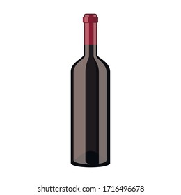 Red wine bottle icon isolated on white background. Vector illustration