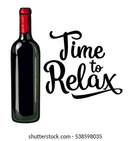 Red wine bottle, sketch style vector invitation, banner, poster template. Realistic hand drawing of an unlabeled, unopened wine bottle, time to relax concept