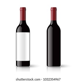 Red wine bottles and empty label isolated on white background, vector illustration