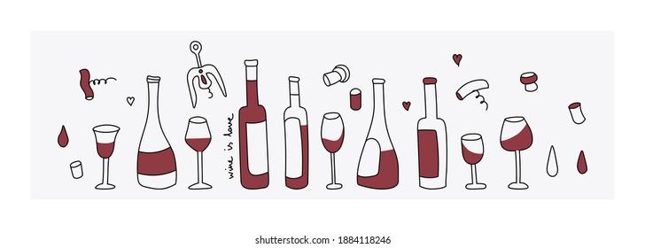 Red wine, glass, corkscrew. Vector doodle style design elements. Wine bottle options. Simple flat design.