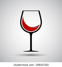 Red wine in glass icon - Vector