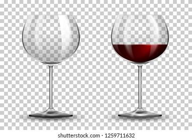 Red wine glass on transparent background illustration