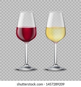 Red wine glass and white wine glass isolated on the transparent background. Vector collection.