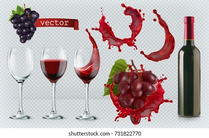 Red wine. Glasses, bottle, splash, grapes. 3d realistic vector icon set