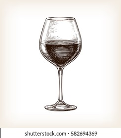 Red wine. Hand drawn vector illustration of wineglass. Retro style.