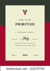 Red wine labels. Vector premium template set. Clean and modern design. Italy red wine label Primitivo