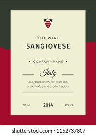 Red wine labels. Vector premium template set. Clean and modern design. Italy red wine label Sangiovese