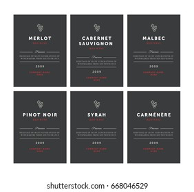 Red wine labels. Vector premium template set. Clean and modern design. Pinot Noir, Malbec, Cabernet Sauvignon, Merlot, Syrah, Carmenere.