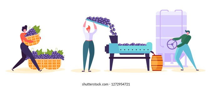 Red Wine Production Factory Character Set. Winery Process Line Infographic Collection. Winemaker Woman Crushing Fermentation Grape with Old Vineyard Technology Flat Cartoon Vector Illustration