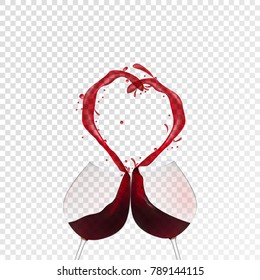 Red wine spilling and forming heart shape. Realistic vector eps10.