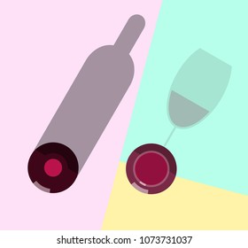 Red wine in wineglass and bottle. Top view icons on pastel colors background. Illustration for poster, banner, t-shirt.